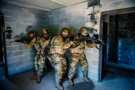 Trainees from the 198th Infantry Brigade conduct urban operations room-to-room clearing, April 21, 2020, Fort Benning, Ga.