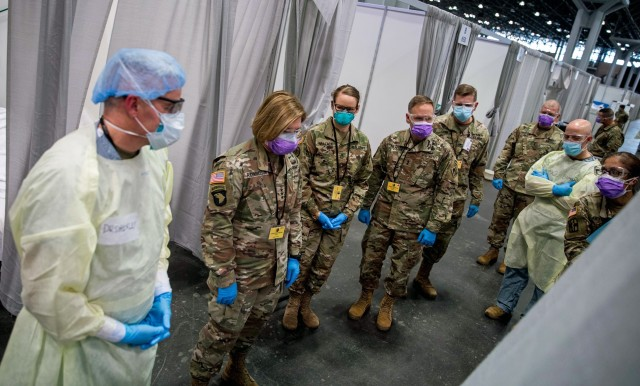 Lt. Gen. Laura Richardson, second from the left, commander of U.S. Army North, views the patient area of the intensive care unit at the Javits New York Medical Station, April 12, 2020. While the peak of her command's COVID-19 response has passed, Richardson recently said it remains poised to step up and help should the need arise.