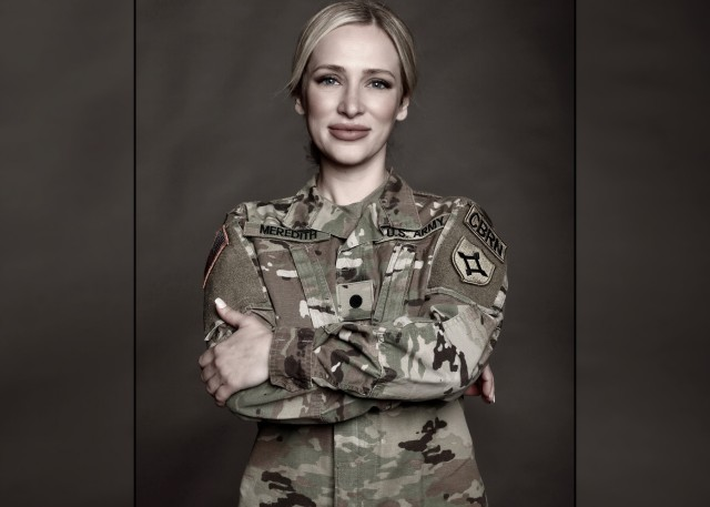 Second Lt. Christina Meredith is a signals intelligence officer with the Texas National Guard. She said she overcame years of abuse at a young age to become an Army officer. A former Ms. California pageant winner, she is also an author of a bestselling memoir, national speaker, aspiring politician, and founder of a non-profit organization that helps advocate for foster care reform.