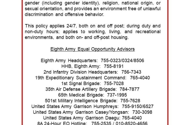 Strength in Diversity - Eighth Army Equal Opportunity is tip of the spear