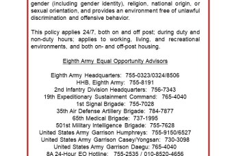 Strength in Diversity – Eighth Army Equal Opportunity is tip of the spear