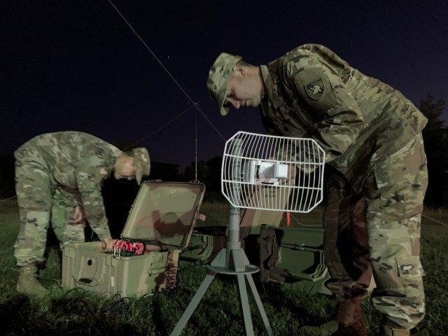 Members of the Army Cyber Institute demonstrate the capabilities of their high frequency technology and equipment during Cyber Blitz, an experimentation campaign designed to synchronize science and technology prototypes, technology concepts and investment strategies. Army leaders discussed Joint All-Domain Command and Control, an initiative that gives joint forces and mission partners the ability to quickly collaborate and coordinate efforts across each domain, during AFCEA's Army Signal Conference July 14, 2020.