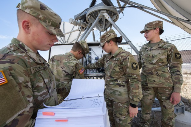 Students conduct training on a satellite dish as part of a Joint Tactical Ground Station course at the U.S. Army Space and Missile Defense School in Colorado Springs, Colo., Aug. 30, 2019. Army leaders discussed Joint All-Domain Command and Control, an initiative that gives joint forces and mission partners the ability to quickly collaborate and coordinate efforts across each domain, during AFCEA's Army Signal Conference July 14, 2020.