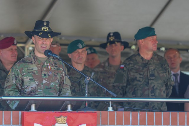 U.S. Army Lt. Col. Andrew Gallo, 3rd Squadron, 2nd Cavalry Regiment commander and outgoing Battle Group Poland commander, speaks during a change of command ceremony in Bemowo Piskie Training Area, Poland, July 17, 2020. After a 6-month rotation, 3rd Squadron, 2nd Cavalry Regiment was replaced by 2nd Squadron, 2nd Cavalry Regiment. (U.S. Army photo by Cpl. Justin W. Stafford)