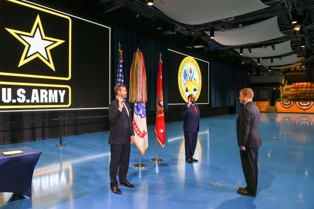 Secretary of the Army, Hon. Ryan D. McCarthy, hosts a Civilian Aide to the Secretary of the Army Investiture Ceremony in Arlington, Va., July. 10, 2020. (U.S. Army photo by Sgt. James Harvey)