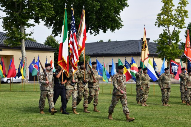 U.S. Army Africa Soldiers prepare for the USARAF change of command ceremony July 15, 2020, on Caserma Ederle in Vicenza, Italy. Maj. Gen. Andrew M. Rohling assumed command of USARAF from Maj. Gen. Roger Cloutier, the outgoing commanding general. (U.S. Army photo by Paolo Bovo)