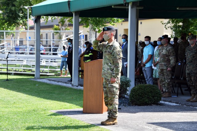 Maj. Gen. Andrew M. Rohling, the incoming U.S. Army Africa commanding general, renders a salute during the USARAF change of command ceremony at Caserma Ederle in Vicenza, Italy, July 15, 2020. (U.S. Army photo by Paolo Bovo)
