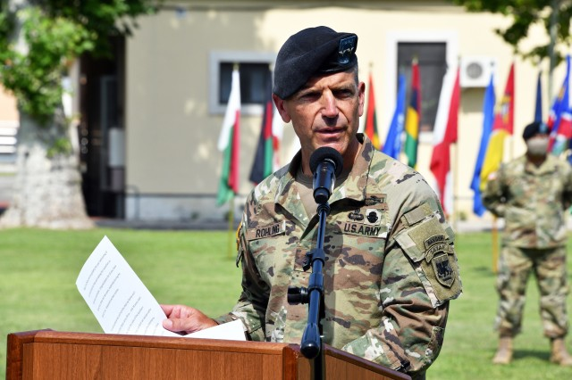 Maj. Gen. Andrew M. Rohling, the incoming U.S. Army Africa commanding general, addresses the audience during the change of command ceremony at Caserma Ederle in Vicenza, Italy, July 15, 2020. (U.S. Army photo by Paolo Bovo)
