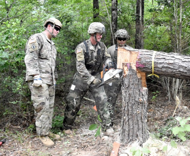 From left, Staff Sgt. Dean Johnson, JRTC Ops Gp Task Force 5, Spc. Guy Cipriano, 3rd BCT, 10th Mtn Div, and Sgt. Belmar Gomez, 3rd BCT, 10th Mtn, fell a tree using a tongue and groove cut during abatis training July 16.