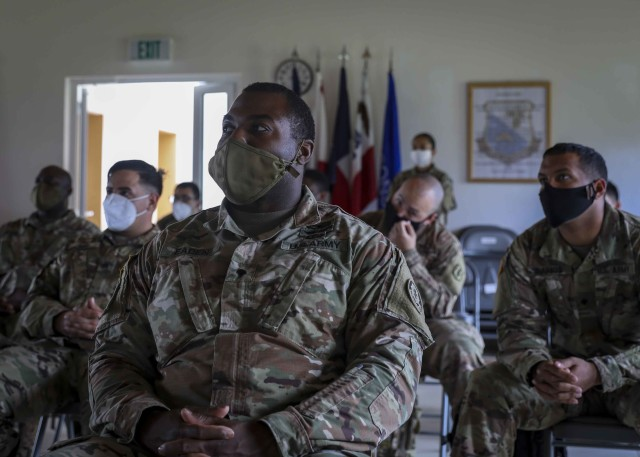 U.S. Army Soldiers, attending the Basic Leadership Course at the 7th Army Noncommissioned Officer Academy, participate in a suicide prevention course in Grafenwoehr, Germany, July 17, 2020. The course, taught by the Army Substance Abuse Program staff, aimed to train noncommissioned officers to take action in preventing suicide cases in their units. (U.S. Army photo by Spc. Zack Stahlberg)