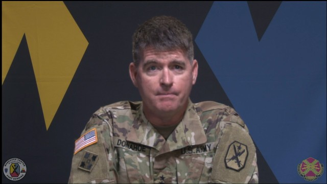 FORT BENNING, Ga. – Maj. Gen. Patrick J. Donahoe, who became commanding general of the U.S. Army Maneuver Center of Excellence and Fort Benning July 17, goes online to talk to the community July 20 via live-stream on Facebook. Among topics he covered were further measures to help protect Fort Benning from the spread of COVID-19, its  cordial relationship with surrounding communities, and Fort Benning's vital role in training Army combat forces. Donahoe emphasized the need for Soldiers and civilians here to keep their guard up against the pandemic so Fort Benning can continue to fulfill its vital training mission.(Photo by U.S. Army Maneuver Center of Excellence and Fort Benninig Public Affairs Office)