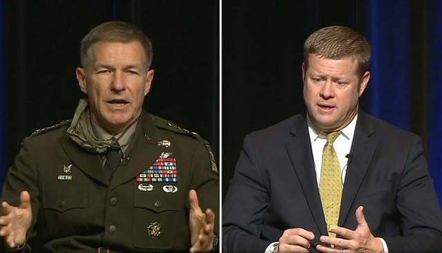 Army Chief of Staff Gen. James C. McConville, left, and Secretary of the Army Ryan D. McCarthy speak during a virtual town hall July 22, 2020, that discussed ways to combat sexual harassment and assault.