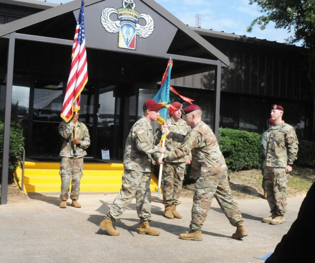 Brig. Gen. Patrick D. Frank, Joint Readiness Training Center and Fort Polk commanding general, passes the colors to Col. Jason A. Curl, the incoming Operations Group commander, at the change of command ceremony held July 16 in front of Operations Group Headquarters.