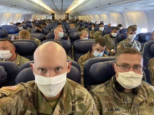 Soldiers from the U.S. Army Reserve's 652nd Regional Support Group out of Helena, Montana, and the New Mexico National Guard's 1209th Medical Company (Area Support) from Rio Rancho, New Mexico, prepare to take off from Poznan, Poland, en route back to the United States. The two units are wrapping up a nearly year-long deployment to Poland in support of Atlantic Resolve together. (U.S. Army Reserve photo by Master Sgt. Ryan C. Matson, 652nd Regional Support Group)
