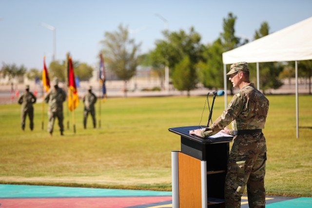 "FORT BLISS, Texas - Maj. Gen. Patrick E. Matlock, the outgoing commanding general of 1st Armored Division and native of Willows, California, speaks to assembled Soldiers of the division and the audience during the 1AD change of command ceremony at Fort Bliss, Texas, July 28. Matlock acknowledged the team of leaders who helped make his command successful, and bid farewell to 1AD, stating that ""It has been the privilege of a lifetime to serve as your commanding general, and my heart will always be with those colors."" (U.S. Army phot by Pfc. Matthew Marcellus)"