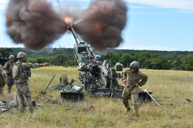 Troopers with Battery B, Field Artillery Squadron (STEEL), 3d Cavalry Regiment executed a lethal two-gun M777 Howitzer raid culminating with a live fire at Fort Hood on July 29. (U.S. Army photo by Maj. Marion Jo Nederhoed)