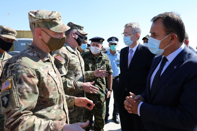 21st TSC and 1CD FWD leaders speak to the U.S. Ambassador and Greece Minister of Defense.