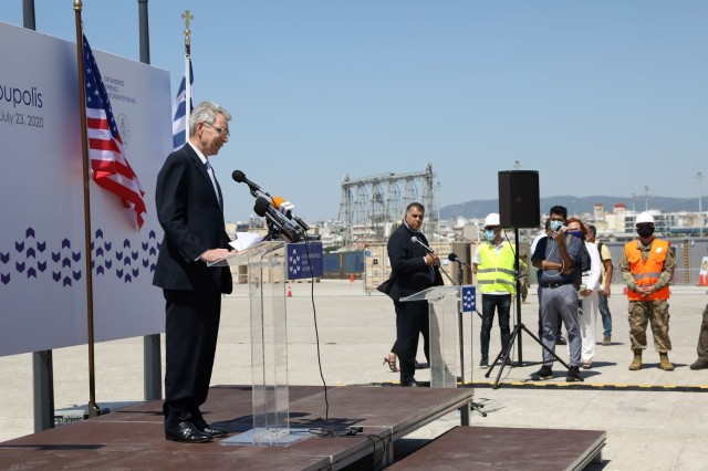 U.S. Ambassador to Greece speaks at Atlantic Resolve port operation