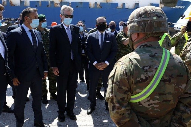 U.S. Ambassador and Greece Defense Minister speak to 101st CAB Soldiers at the port.