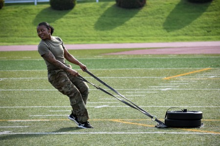 Sgt. Brittany Farley, assigned to the 78th Signal Battalion, competes in the sprint, drag, carry portion of the U.S. Army Japan 2020 Army Week Functional Fitness Team Competition at Camp Zama, Japan, June 9.