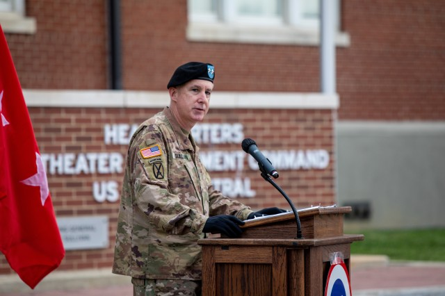 Maj. Gen. John P. Sullivan, commanding general, 1st Theater Sustainment Command, gives his remarks during the 1st TSC's change of responsibility ceremony held at Fort Knox, Kentucky, July 28, 2020. (U. S. Army Photo by Spc. Kaylee Harris, 1st TSC Public Affairs)