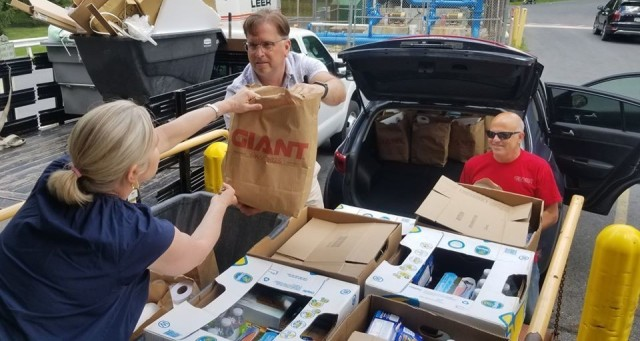 Lockheed Martin with assistance from the AWC foundation donated groceries supplied by Giant supermarkets for international fellows as they begin their 14 days of restriction movement. June 30, Root Hall, Carlisle Barracks.
