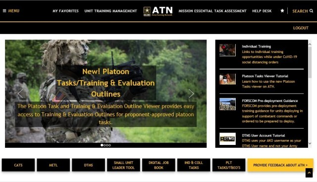 The Platoon Task and Training & Evaluation Outline Viewer