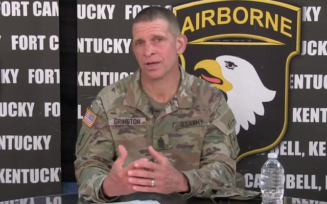 Sgt. Maj. of the Army Michael A. Grinston speaks during a virtual town hall at Fort Campbell, Ky., Aug. 3, 2020. Grinston discussed the development of a new mobile app that will help Soldiers on training management, counseling and sponsorship.