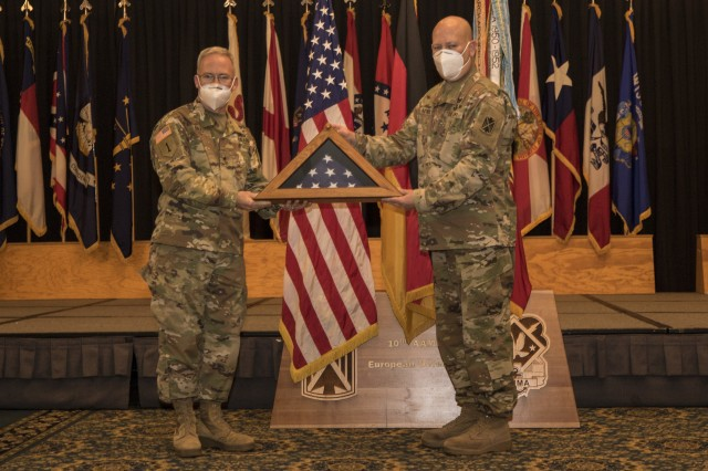 10th Army Air and Missile Defense Command conducts a retirement ceremony on Aug. 6, 2020. at Ramstein Air Base, Germany.