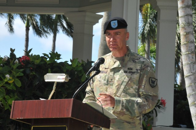 Brig. Gen. Jan C. Norris, the 311th Signal Command (Theater) Commanding General, provides remarks during a streamer presentation ceremony for having been awarded the Army Superior Unit Award. The event took place at the historic Palm Circle Gazebo on Fort Shafter, Friday July 24, 2020. (Official U.S. Army Photo by Spc. Bishnu Bhandari)