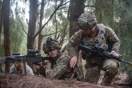 Soldiers communicate with each other while scanning the area for enemies during Lightning Forge 20 on Kahuku Training Area, Hawaii, July 15, 2020.