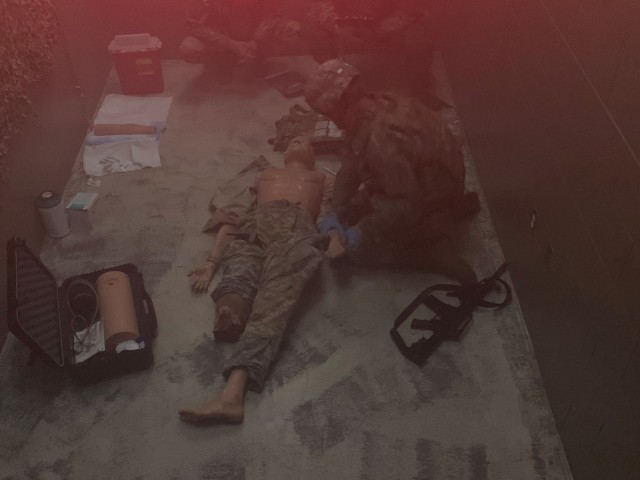 Sgt. Scott Barron, a noncommissioned officer with the Winn Army Community Hospital, tests his combat lifesaver skills July 29 at the Fort Stewart Medical Simulation Training Center.
