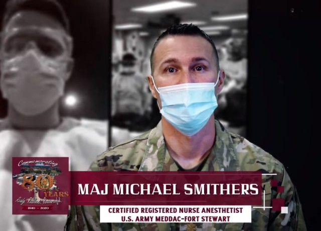 Major Michael Smithers, a Certified Registered Nurse Anesthetist at Winn Army Hospital, was called to support the frontline fight against the coronavirus in New York City in April.  He returned to Winn ACH in July to share lessons learned from his experience.  (Graphic by Zach Rehnstrom).