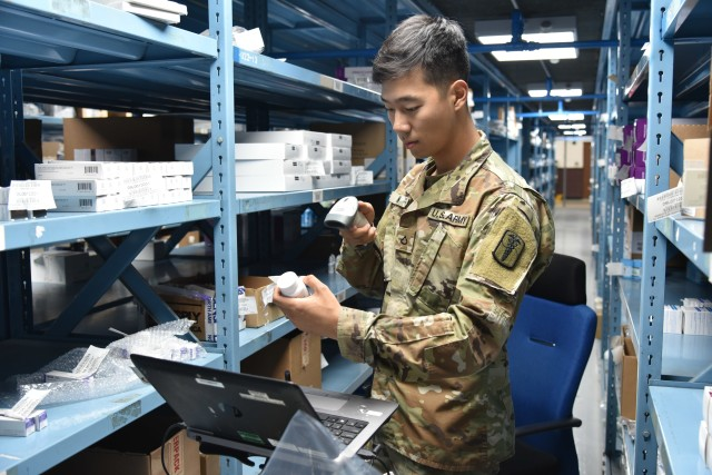 A Soldier with the U.S. Army Medical Materiel Center-Korea inventories medical supplies in a warehouse. The Army's newest 1-star command will project and sustain medical materiel capabilities and data for the Army and joint force. Army Medical Logistics Command, a major subordinate command of Army Materiel Command, reached initial operational capability June 1 and is expected to be fully operational Oct. 1. (Courtesy Asset)