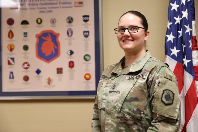 Sgt. 1st Class Rachel Copeland poses for a photo after an interview in March 2019 at Fort Benning, Ga.Copeland works as a noncommissioned officer in the Plans and Operations Section at the 98th Training Division (Initial Entry Training) Headquarters in Fort Benning, Ga., and hails from Roselawn, Ind.