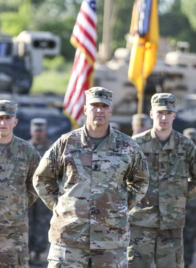 Lt. Col. Marc Austin, outgoing commander of the 2nd Battalion, 69th Armored Regiment, 2nd Armored Brigade Combat Team, 3rd Infantry Division, stands in front of his formation one last time during the battalion change of command ceremony on Camp Mustang, Glebokie, Drawsko Pomorskie Training Area, Poland. June 1, 2020. (U.S. Army photo by Staff Sgt. Brian K. Ragin Jr.)
