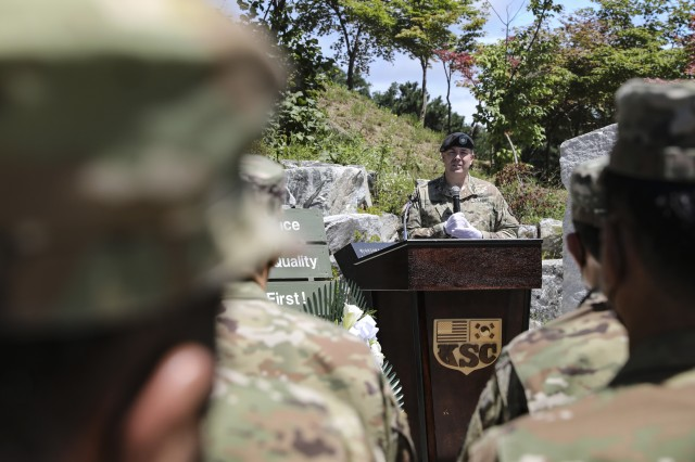 Lt. Col. John E. Cooper, commander of the Korean Service Corps, gives his remarks during a 70th Anniversary commemoration ceremony at the KSC Korean War Memorial in Inje, South Korean, July 26, 2020. (U.S. Photo by Staff Sgt. Jacob Kohrs)