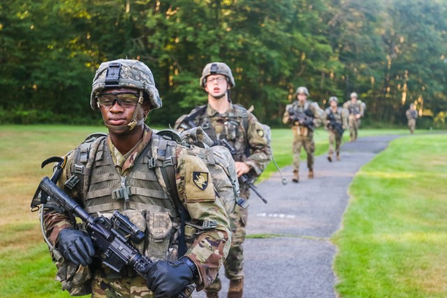 New cadets in the Class of 2024 arrive at the West Point golf course after the first leg of March Back Monday. The nine-mile ruck march followed a route around West Point and marked the end of Cadet Basic Training.