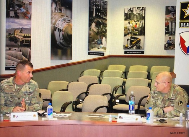 Col. Gavin Gardner, JMC commander, led JMC's quarterly brief to Gen. Edward Daly, commander, AMC on August 13.  The briefing highlighted strategic initiatives that drive desired effects and outputs for JMC.