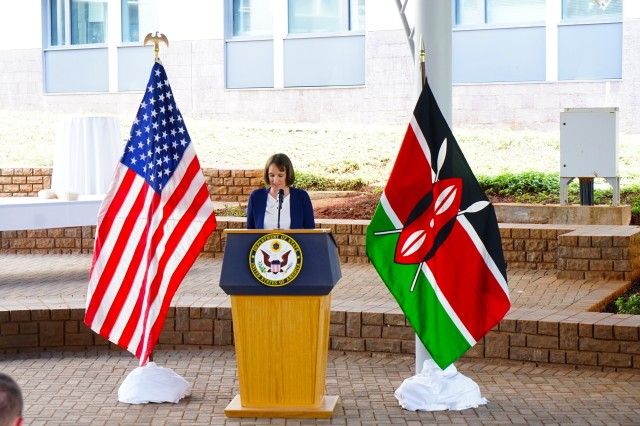 Col. Deydre Teyhen, WRAIR Commander, provides remarks at the celebration of the 50th anniversary of partnership and collaboration between WRAIR and the Republic of Kenya on September 12, 2019