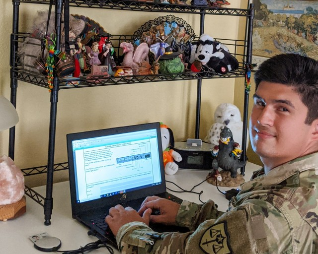 U.S. Army Reserve Sgt. Adam Smith poses for a photo during his unit's virtual battle assembly Aug. 9, 2020. Smith, a host analyst with Cyber Protection Team 185 works in the information technology industry as a civilian bringing those skills to the Department of Defense. (Courtesy photo)