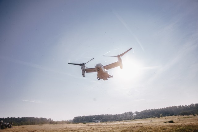 U.S. Army paratroopers assigned to 1st Squadron, 91st Cavalry Regiment, 173rd Airborne Brigade fly in a V-22 Osprey from Grafenwoehr Training Area, Germany to Hohenfels Training Area, Aug. 10, 2020 in preparation for Exercise Saber Junction 20.The 173rd Airborne Brigade is the U.S. Army's Contingency Response Force in Europe, providing rapidly deployable forces to the United States Europe, Africa and Central Command areas of responsibility. Forward deployed across Italy and Germany, the brigade routinely trains alongside NATO allies and partners to build partnerships and strengthen the alliance.(U.S. Army photo by Spc. Ryan Lucas)