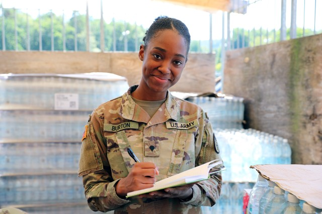 Spc. Monesha Burton plays a key role in the Army Health System's fight against COVID-19.  Burton, a veterinary food inspection specialist, spends her days inspecting food facilities throughout the Kaiserslautern military community.