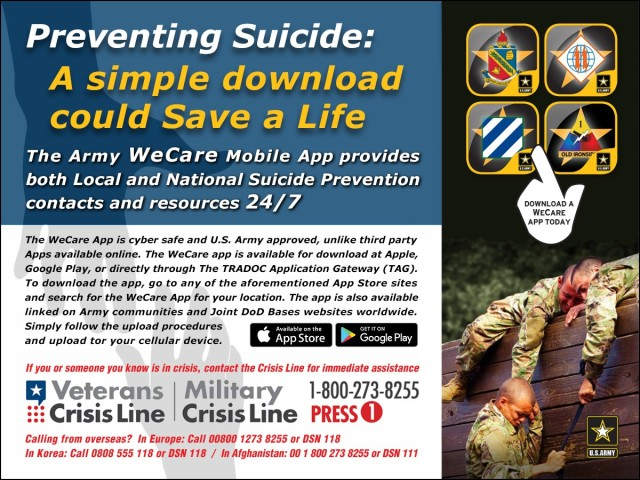 """TRADOC's """"WeCare"""" app is location/post specific, and it supports the Army's Suicide Prevention Campaign. It serves as a 24/7 ready resource for those feeling alone and considering suicide, or for those who are concerned about someone and are trying to intervene. The app also provides instructions for reporting sexual assault, and has other useful embedded tools."""