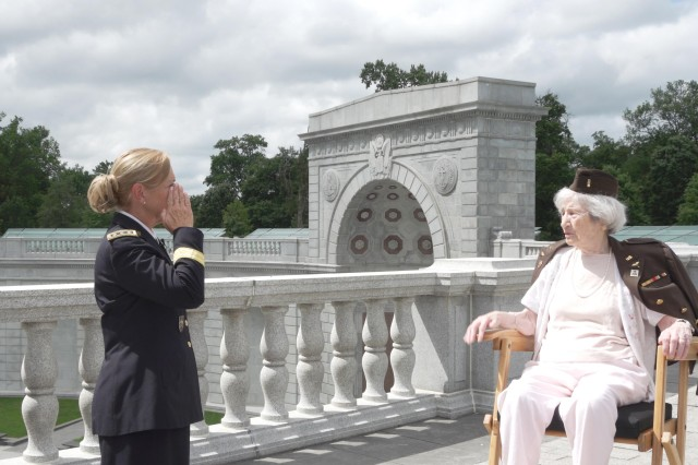 Retired Army Lt. Gen. Patricia Horoho salutes Regina Benson, 100, a former Army nurse who served in the Pacific Theater during World War II, at the Women in Military Service for America Memorial during filming for an upcoming video project at Arlington National Cemetery in Arlington, Va., July 10, 2020. Horoho, a nurse, was the 43rd Army surgeon general and commanding general of the Army Medical Command. She was the first woman and first Army Nurse Corps officer to hold those appointments.