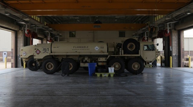 As part of Operation Pegasus Harvest, a M978A4 fuel servicing truck waits for departure in a motor pool July 30 on Fort Hood, TX. The operation focuses on reducing excess equipment and vehicles to minimize costs. (U.S. Army photo by Pvt. Brayton Daniel)