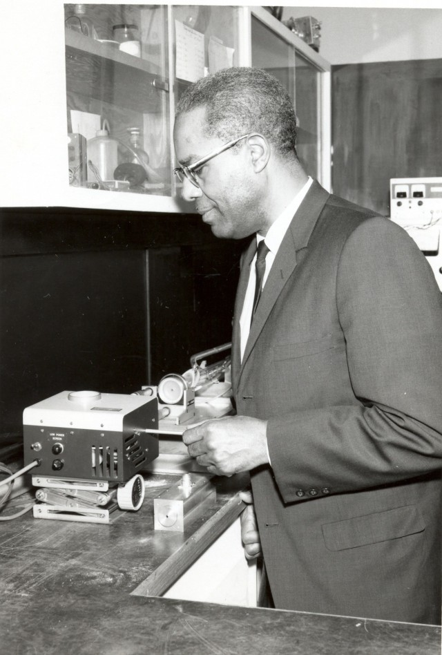 McAfee in lab, 1946