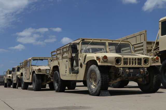 As part of Operation Pegasus Harvest, a line of Humvees (HMMWV) wait for departure in a motor pool July 30 on Fort Hood, TX. The operation focuses on reducing excess equipment and vehicles to minimize costs. (U.S. Army photo by Pvt. Brayton Daniel)
