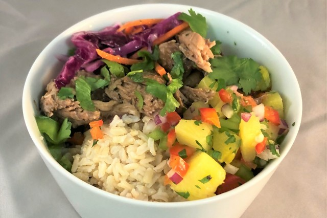 Close up of a Kahlua bowl recipe created by the Armed Forces Recipe Services (AFRS) group at the U.S. Army Combat Capabilities Development Command Soldier Center's Combat Feeding Directorate (CFD) in Natick, Massachusetts.