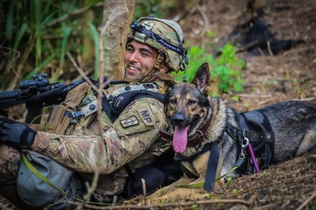 A Patrol Explosive Detector Dog team from the 13th/520th Military Police Detachment serve as integral assets during Exercise Lightning Forge 2020 at the Kahuku Training Area, Hawaii, July 2020.